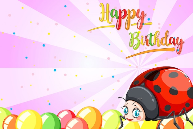 Ladybug on birthday template Free Vector