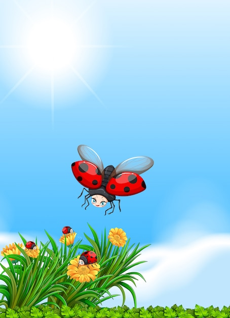 Ladybug flying in the garden Free Vector
