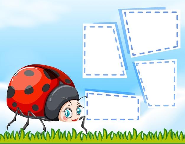 Ladybug on note background Free Vector