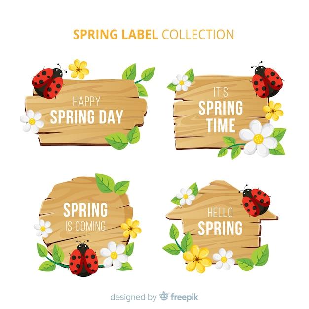 Ladybug spring label set Free Vector
