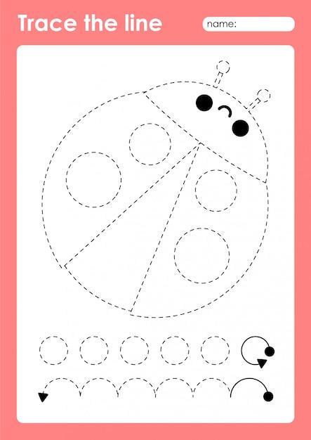 Premium Vector Ladybug - Tracing Lines Preschool Worksheet For Kids For  Practicing Fine Motor Skills
