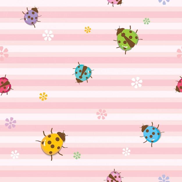 Ladybugs seamless pattern Premium Vector
