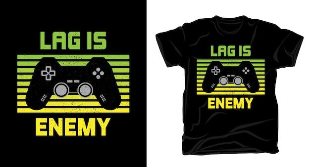 Lag - это вражеская типографика с дизайном футболки с игровым контроллером Premium векторы