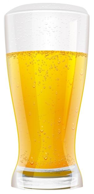 Lager beer in glass Premium Vector
