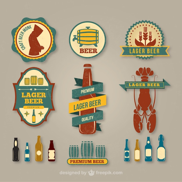 Lager beer label pack Free Vector