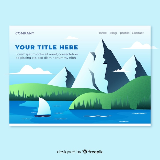 Lake landscape landing page Free Vector