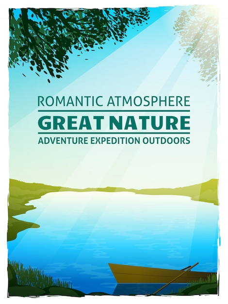 Lake nature landscape background poster Free Vector
