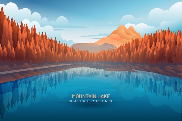 Lake with mountain backdrop landscape Premium Vector