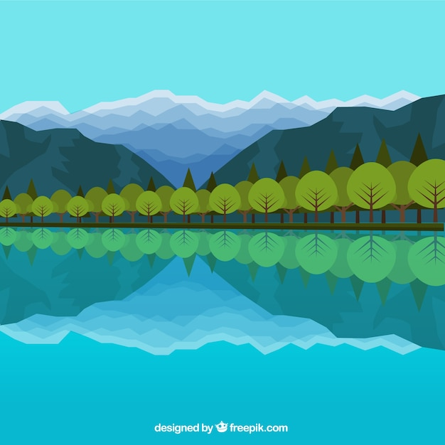 Lake with trees reflected in flat style