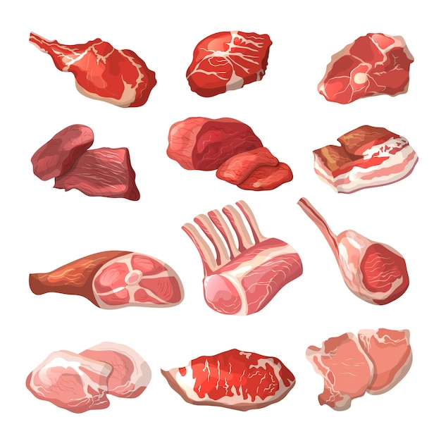 Lamb,  pork beef,  and other meat in cartoon style Premium Vector