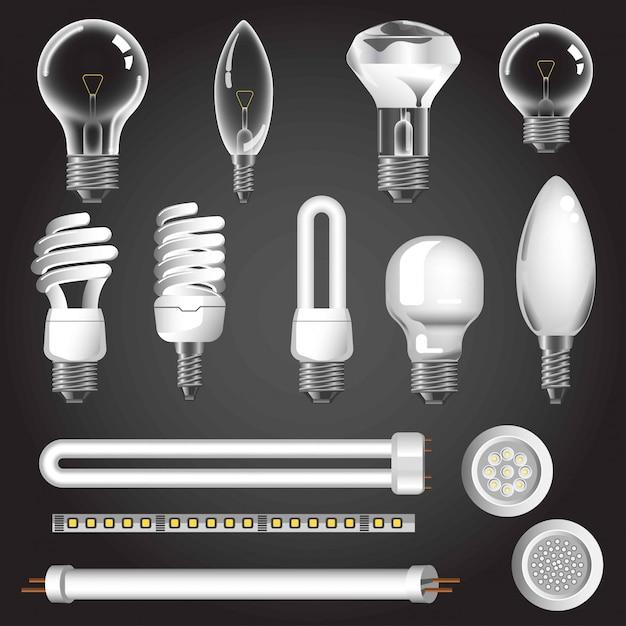 Lamp types vector 3d realistic icons Premium Vector