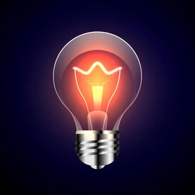 Lamp with bright light on dark background Premium Vector