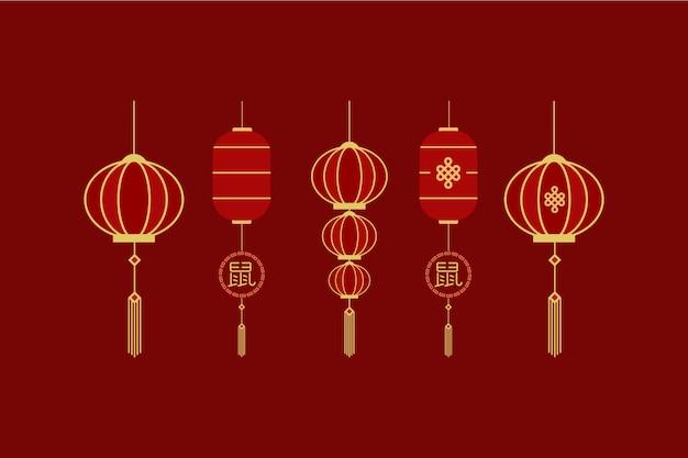 Набор элементов шаблона китайского нового года lampion imlek Premium векторы