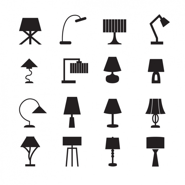 Lamps Icons Collection Vector