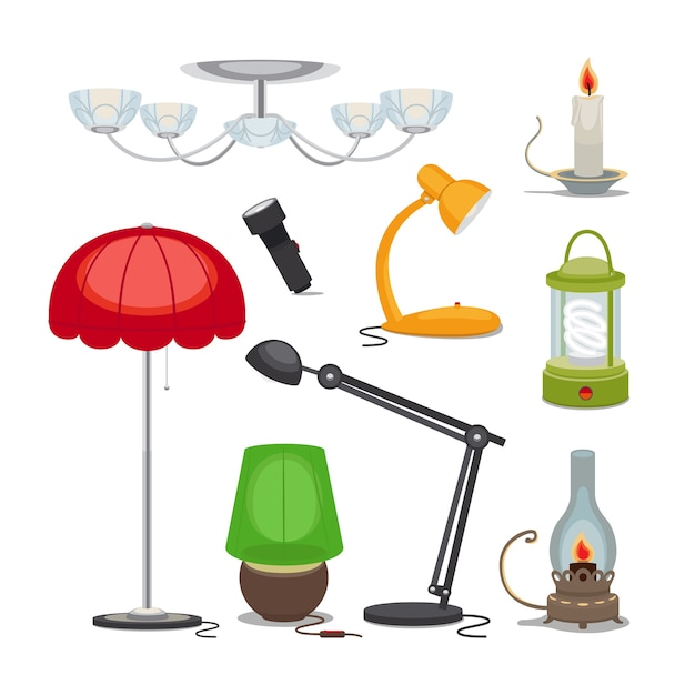 Lamps and lights. chandelier, flashlight, candle and oil lamp, rechargeable lamp. Free Vector