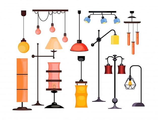 Лампы установлены иллюстрации Бесплатные векторы