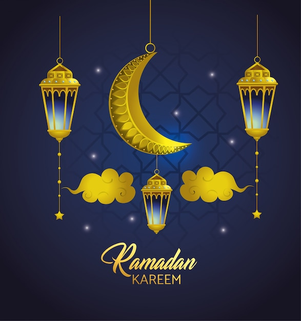 Lamps with clouds and moon hanging to ramadan kareem Free Vector