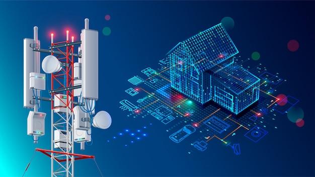 スマートホームの抽象的な背景。無線lanネットワークを介した制御機器のシステム。 Premiumベクター