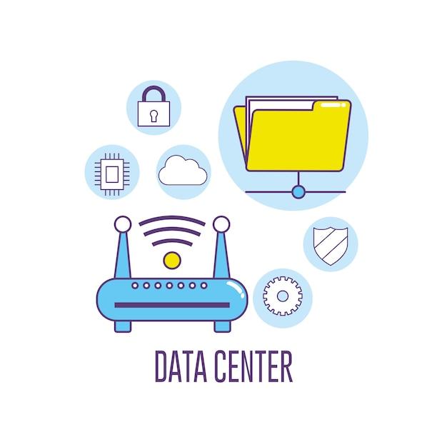 無線lanルータ技術データセンター接続 Premiumベクター