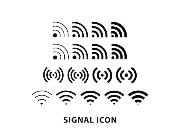 スマートフォンのインターネット信号アイコンが設定され、無線lanの信号アイコン。 Premiumベクター
