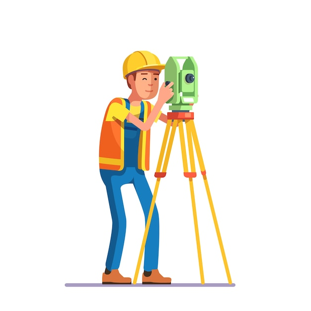 Land survey and civil engineer working Free Vector