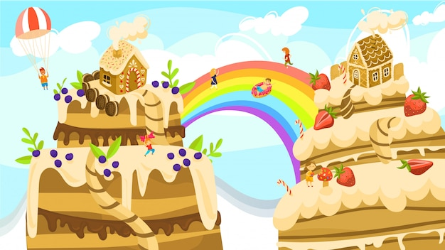 Land of sweets fantasy world, boys and girls on rainbow between cakes and gingerbread houses cartoon  illustration. Premium Vector