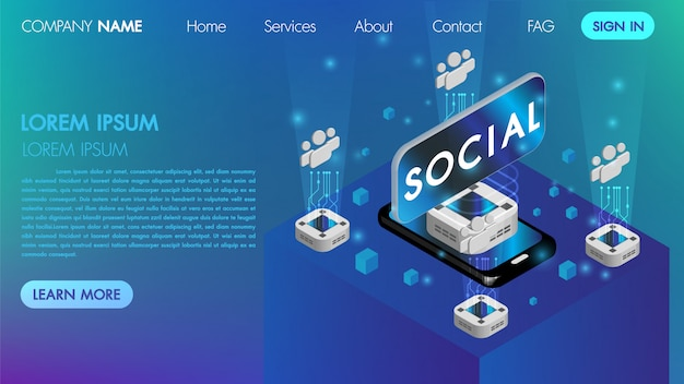 Landin page. mocksite. virtual reality social communication concept with technology connect isometric vector Premium Vector