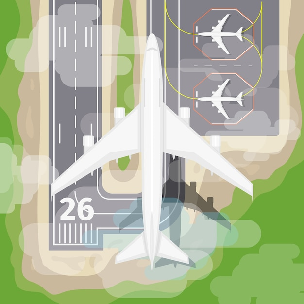Landing airplane. transportation to airport, aviation in sky, vector illustration Free Vector