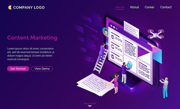Landing page about content marketing Free Vector