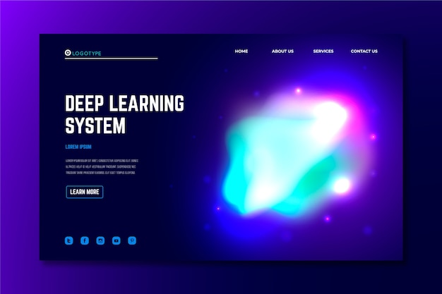 Landing page abstract colorful delusion Free Vector