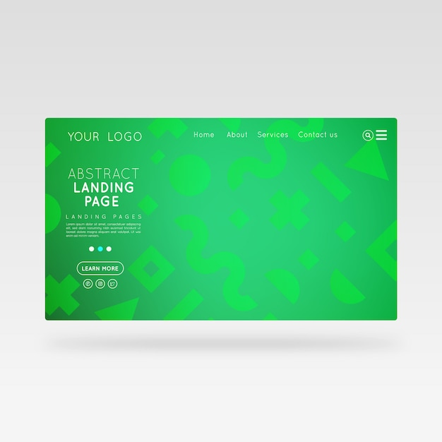 Landing page abstract green template Premium Vector