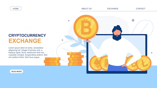 Landing page advertise cryptocurrency exchange app Premium Vector
