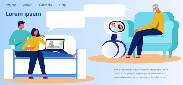 Landing page advertises technology for video calls Premium Vector