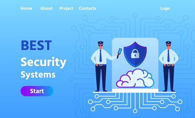 Landing page advertising лучшая система безопасности Premium векторы