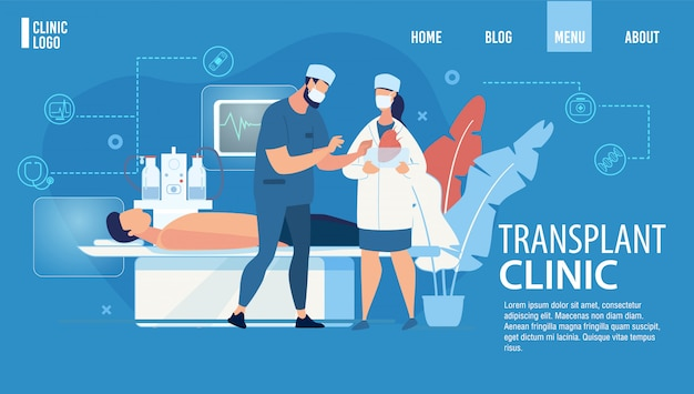 Landing page advertising transplant clinic service Premium Vector