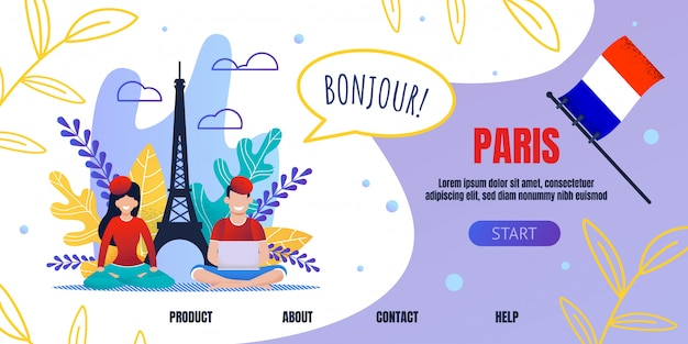 Landing page advertising trip to paris on vacation Premium Vector