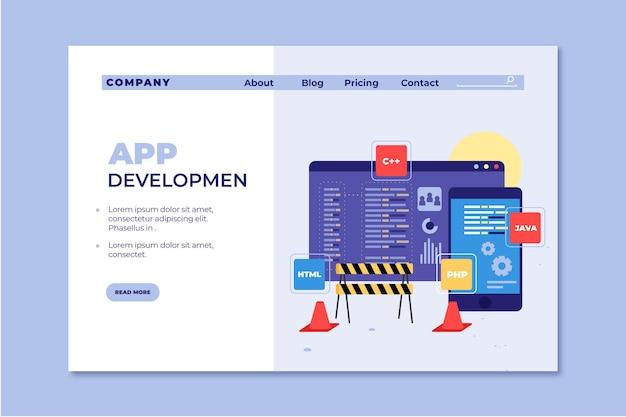 Landing page app development template Free Vector