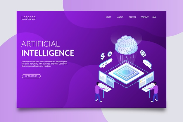 Landing page artificial intelligence template Free Vector