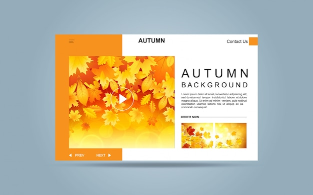 Landing page autumn template for website. Premium Vector