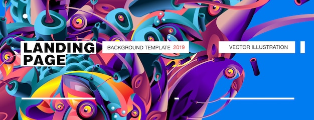 Landing page background template colorful abstract liquid illustration. Premium Vector