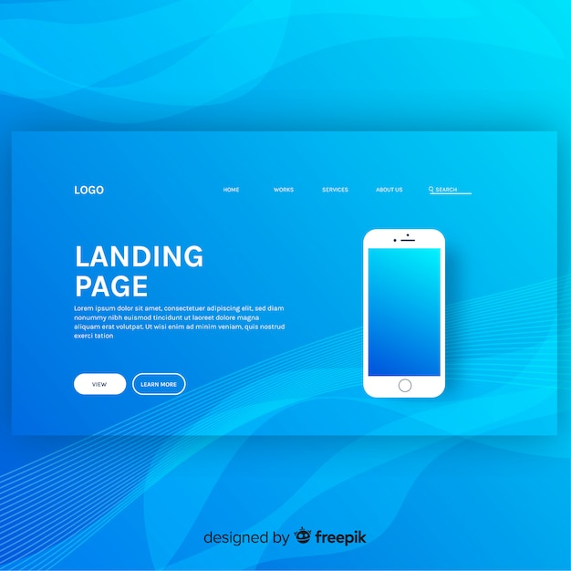 Landing page background Free Vector