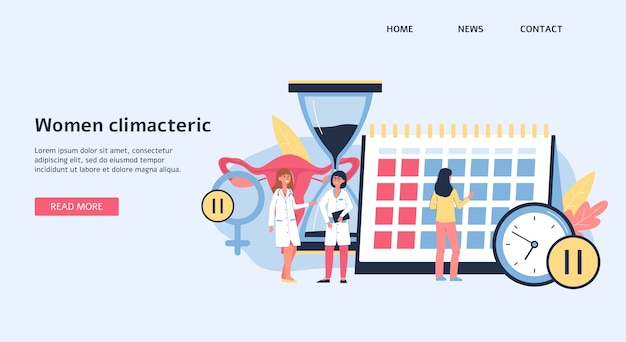 Landing page or banner template on women climacteric and female menopause topic,   illustration. medical site background with doctors cartoon characters. Premium Vector