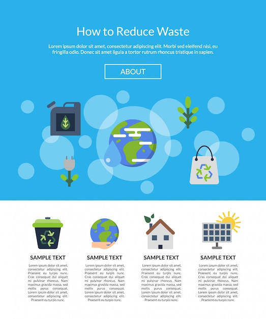 Landing page banner  with ecology flat icons Premium Vector