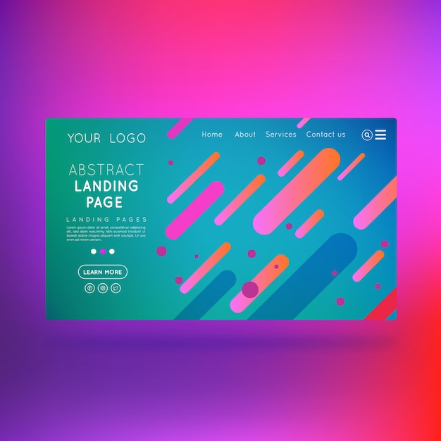 Landing page business abstract design Premium Vector