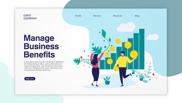 Landing page business benefits Premium Vector