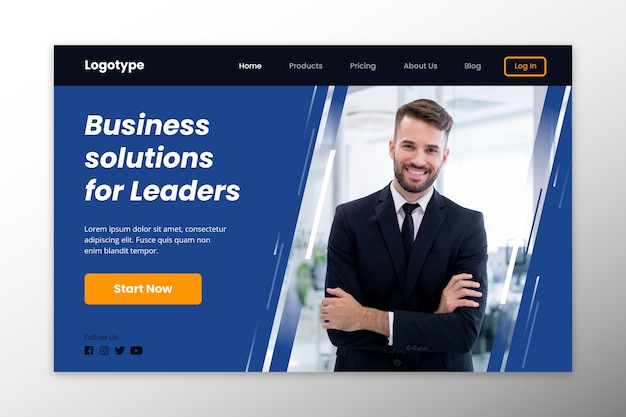Landing page business solutions for leaders Free Vector