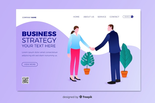 Landing page business strategy Free Vector