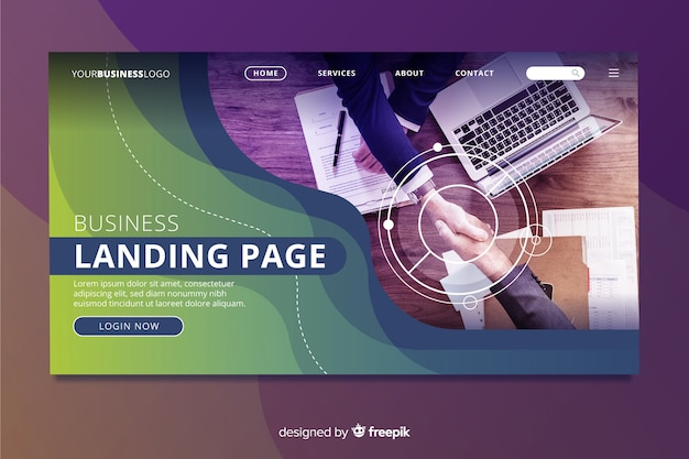 Landing page for business with photo Free Vector