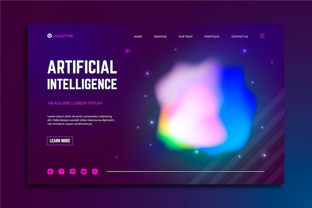 Landing page colorful delusion abstract Free Vector