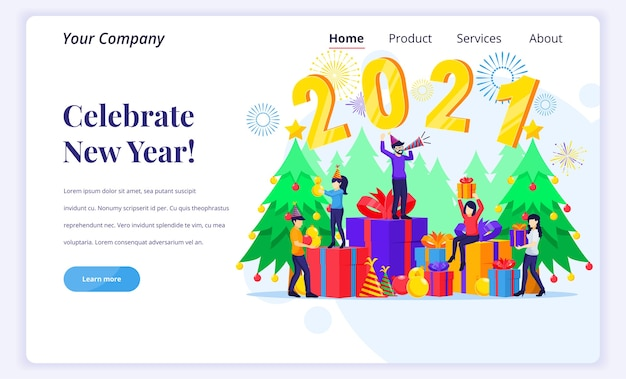Landing page  concept of celebrate the new year. Premium Vector